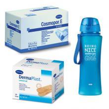 PROMOPACK: Dermaplast universal 19x72mm - 100 strips + Cosmopor E 7,2x5cm -50 stuks + Drinkfles 650ml (Fresh & Cold)
