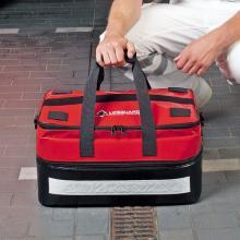 Eerste hulp tas in leer zwart/rood